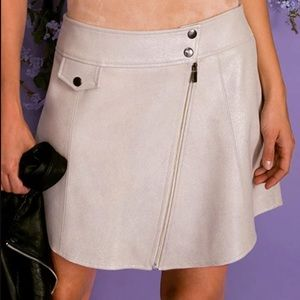 AS by DF cult beige cream leather moto mini skirt